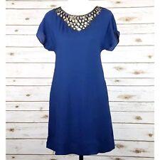 BCBG MaxAzria Dress XS 100% Silk Sequin Pockets Blue Short Sleeve Party NEW $288