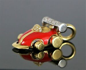 $6,200 Aaron Basha 18k Gold 3D Pave Diamond Red Enamel Grand Prix Race Car Charm