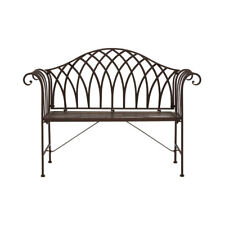 Premier Garden Jardin Bench Dark Brown Wrought Iron Vintage Retro 2 Seater