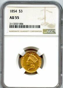 1854 Three Dollar Gold $3 NGC AU 55