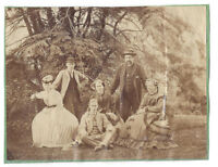 Victorian Gentlemen & Ladies in the Garden - Antique Albumen Photograph c1890