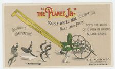 Planet Jr Single-Wheel Hoe, Cultivator, Rake & Plow Combo 1880's Trade Card
