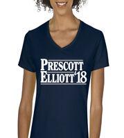 "V-NECK Ladies Dak Prescott Ezekiel Elliott Dallas Cowboys ""2018""  Shirt"