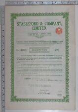 1923 Antique Share Certificat Stableford & Société Limitée