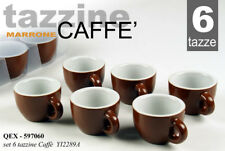 SET TAZZINE 6 PEZZI TAZZA BA CAFFè 80 ML BAR MARRONE PORCELLANA PIENA QEX 597060