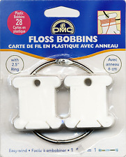 "DMC PLASTIC FLOSS BOBBINS PACK OF 28 WITH 2.5"" RING  FREE UK POST & PACKING"