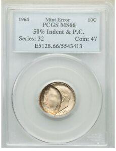 ER078 1964 10C Roosevelt Dime -- 50% Indent & Partial Collar PCGS MS66
