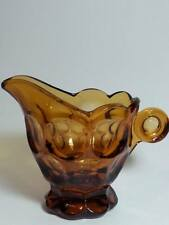 VINTAGE FENTON AMBER ART GLASS CREAMER