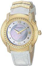 Versace Women's VAM060016 DV-25 Round Lady Diamond MOP Dial White Calfskin Watch
