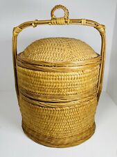 Antique Stacking Chinese Asian 3 Tier Bamboo Wedding Basket Sewing 🧵 Storage