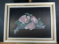 ROSES FLOWERS STILL LIFE SCENE PAINTING ON SILK ??? UNSIGNED