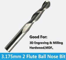 "1/8"" 3.175mm x 22mm Spiral Ball Nose 2 Flutes Solid Carbide Cutter CNC Tool Bull"