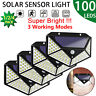 100LED Solar Powered PIR Motion Sensor Wall Light Outdoor Garden Lamp Waterproof