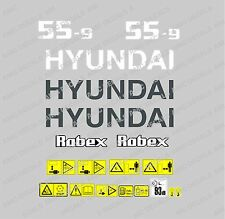HYUNDAI ROBEX 55-9 DIGGER EXCAVATOR DECAL STICKER SET WITH SAFETY WARNING SIGNS
