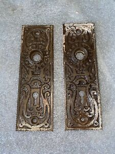 Antique Pair Of  Victorian Cast  Iron Eastlake Backplates