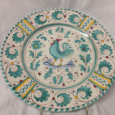 """DERUTA ITALY GREEN ROOSTER LUNCHEON PLATE 9 1/2"""" GREEN FLORAL BORDER"""