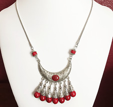 Bohemian style antique silver alloy snake chain with  red resin necklace