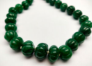 615 Cts 18 MM Natural Green Emerald Pumpkin Round Carved Cut Gemstone Necklace
