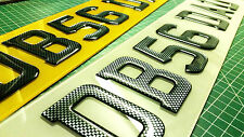 CARBON FIBRE CAR NUMBER PLATES 3D GEL DOMED UK FONT RESIN RAISED EMBOSSED