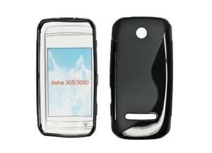 Housse Etui Coque Silicone Gel Noir S ~ Nokia Asha 305 / Asha 306