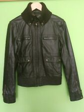 Genuine leather jacket, size M, brown color, from Mango, second hand