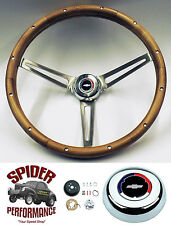 "1955-1956 Bel Air 210 150 steering wheel RED WHITE BLUE BOWTIE 15"" WALNUT"