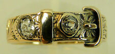 A FINE ANTIQUE 9CT ROSE GOLD DIAMOND SET BUCKLE RING, LONDON 1855, 3.6 G, SIZE O