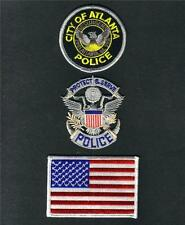 ATLANTA CITY GA Georgia POLICE USA FLAG Sew On iron On PATCH SET 3 Pcs New