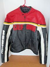 "Vintage ""CALIFORNIA"" Black Red White Yellow MOTORCYCLE LEATHER JACKET~Route~XL"