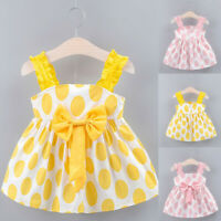 Toddler Baby Girls Kids Strap Bow Dot Print Summer Dress Princess Dresses 6M-3Y