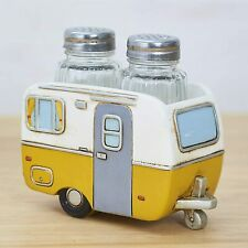 Country Camper Salt and Pepper Shakers with Caravan Holder Tray Retro Yellow