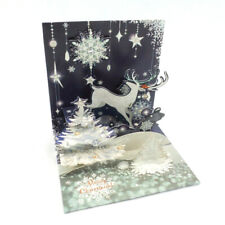 Reindeer Silhouette Christmas Card 3D Pop-Up Holiday Card Up With Paper