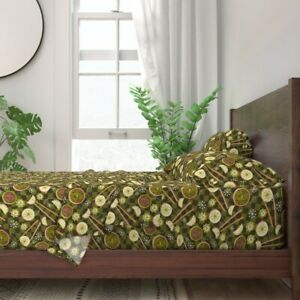 Dim Sum Green Chinese Food Abstract 100% Cotton Sateen Sheet Set by Roostery