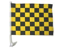 "12x18 Black Yellow Checkered Checker Racing Car Window Vehicle 12""x18"" Flag"