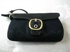 NWT Coach Ltd Bleecker Blk Signature LG Buckle Flap Capacity Wristlet Purse RARE
