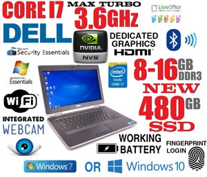 DELL LAPTOP BUSINESS RUGGED CORE I7 TURBO 3.6GHZ NOTEBOOK USB3 WIFI SSD CAMERA