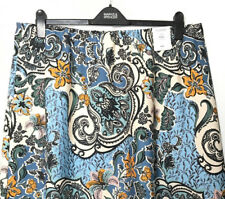 "M&S Marks s20 27""L Reg Classic Blue Floral Aline Pull On Midi Crepe Skirt BNWT"