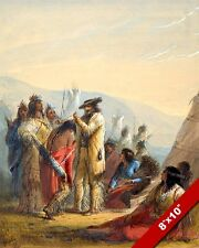 TRAPPER GIVING A GIFT TO A NATIVE AMERICAN INDIAN PAINTING ART REAL CANVAS PRINT
