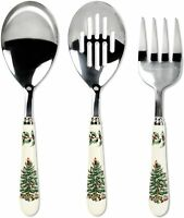 New Gift Spode Christmas Tree Cutlery Set, Meat Fork, Serving & Slotted Spoon