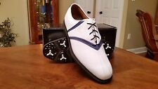 2014 Footjoy FJ ICON MyJoys V-Saddle Mens Golf Shoes 52041 Wh/Blue 10WD NICE!