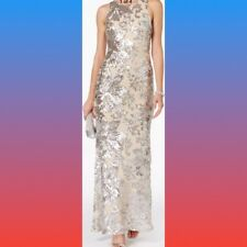 Betsy & Adam NEW Beige Nude Silver Womens Size 4 Illusion Sequin Gown