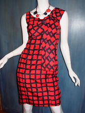 MARC Marc Jacobs RED Windowpane CHECK Retro SILK Bow SHEATH Wiggle Dress 2 S