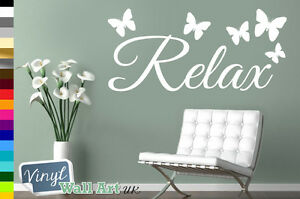 RELAX with BUTTERFLIES Vinyl Wall Art Sticker Decal Various Colors + FREE P&P UK