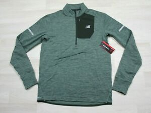 NWT New Balance Running High Heat 1/4 Zip Jacket Mens (M) Medium Green Athletic