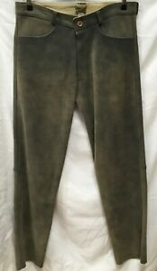 L7# Lange Trachten Lederhose sämisch gegerbtes Hirschleder Gr.52