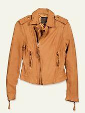"$898 JOIE sz L (~ 36"" Bust) Ailey Leather Moto Bike Jacket Honey Women NWT"