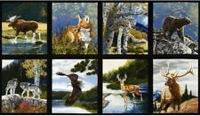 8 BEAUTIFUL WILDLIFE PANELS FOX WOLF BEAR MOOSE FOR QUILTS HOME DECOR STYLE #4