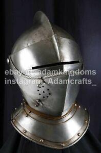 Medieval 14 Gauge Steel Close Helmet Armet Helmet XVI Ct