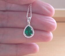 925 Emerald(Lab Created)Gemstone Necklace UK/Silver Emerald Necklace UK/Gift UK