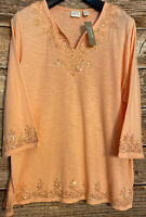 NEW Chico's Embellished Tunic Vneck Peach W/ Gold Sequins Blouse Shirt Top Sz 4